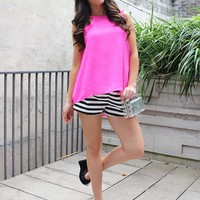 Pink Criss Cross Back Hi-Low Hem Tank Top