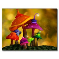 Whimsical Mushrooms Customizable Postcard