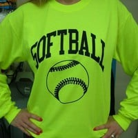 Long Sleeve Neon Softball T-shirt
