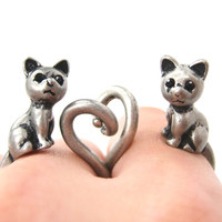 Kitty Cat Right Facing Animal Wrap Around Ring in Silver | Size 5 to 9