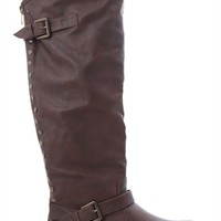 Tall Flat Riding Boot with Contrast Zipper and Studs