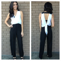 Black & White Tie Back Jumpsuit