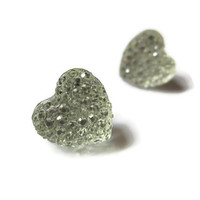 Heart Stud Earrings, Valentine's Day Jewelry, Clear Acrylic, Choice of Silver Toned or Hypoallergenic Surgical Steel Posts