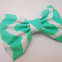 Light turquoise/ White Thin Chevron Hair Bow, Girls Hairbow, Fabric Hair Bow