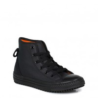 CONVERSE JUNIOR CHUCK TAYLOR HOLLIS HI BLACK TRAINERS