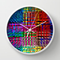 COLOUR EXPLOSION Wall Clock by catspaws