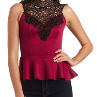 Crochet Lace Mock Neck Peplum Top