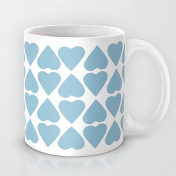Diamond Hearts Repeat Blue Mug by Project M