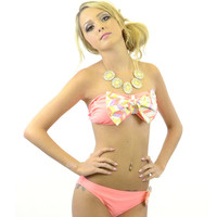 House Of Coral Chevron Bow Top Bandeau Bikini