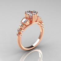 Classic 14K Rose Gold 1.25 CT Princess Cubic Zirconia Diamond Three Stone Engagement Ring R171-14KRGDCZ