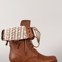 Wild Diva Lounge Jetta-25P Crochet Cuff Military Lace Up Boot
