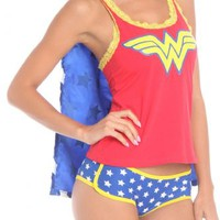 DC Comics Wonder Woman Sleep Set Panty & Tank with Cape