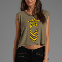 Wildfox Couture Jersey Soldier Boy Cut-Off Graphic Tee in Vintage Army from REVOLVEclothing.com