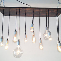 Rustic Industrial Chandelier, Edison Bulbs, Reclaimed Wood, Urban Chandelier