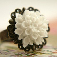 Gardenia Ring snow white antique brass by soradesigns on Etsy