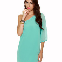 Cute One Shoulder Dress - Sky Blue Dress - Shift Dress - &amp;#36;35.00
