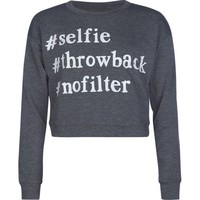 FULL TILT #Selfie Girls Crop Sweatshirt
