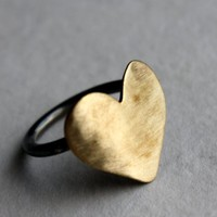 Big Brass Heart Ring