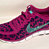 Nike Free 5.0 v4 with Aqua AB Swarovski crystal details Pink/Purple cheetah