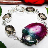 Smokey Quartz &Solar Quartz 925 Sterling Silver Overlay Bracelet 215mm 20mm,Relieves Depression,Gifts Under 10,20,30.Valentine Gift