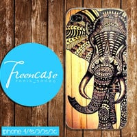 aztec elephant drawing design iPhone, wood case for iphone 4 case,iphone 4s case, iphone 5 case, iphone 5s case, iphone 5c case