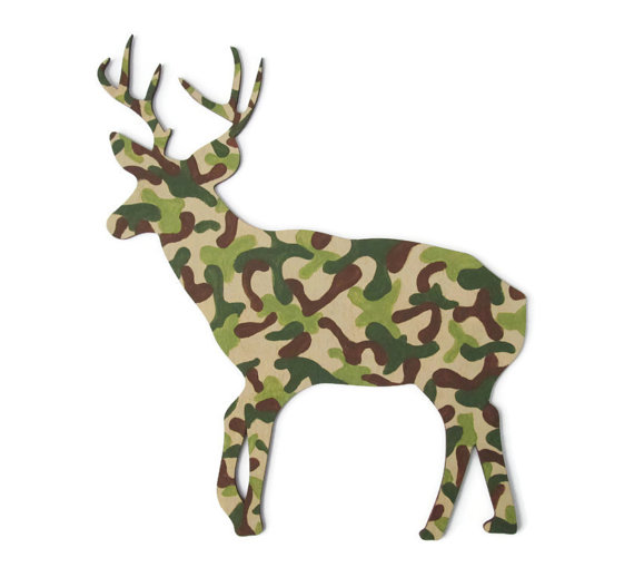 Camouflage Deer Wall Decor Rustic Cabin From FischerFineArts
