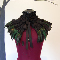 Black lace and fabric and green feather Victorian steampunk goth ruffle collar wrap mini cape Halloween