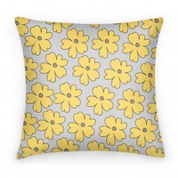 Gray and Yellow Flower Pillow