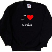 I Love Heart Alaska Black Kids Sweatshirt