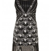 Black Sequined Scallop Hem Dress