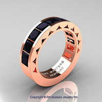 Mens Modern 14K Rose Gold Princess Black Diamond Channel Cluster Wedding Ring R274-14KRGBD