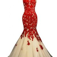 Sunvary Champagne and Red Mermaid Lace Prom Dresses for Evening Formal Gowns Long