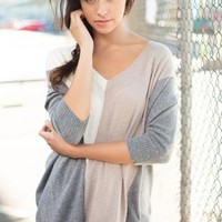 Cream, Tan & Gray Colorblock V-Neck 3/4 Sleeve Sweater
