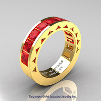 Mens Modern 14K Yellow Gold Princess Rubies Channel Cluster Wedding Ring R274-14KYGR