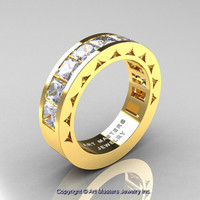Mens Modern 14K Yellow Gold Princess Russian Cubic Zirconia Channel Cluster Wedding Ring R274-14KYGRCZ