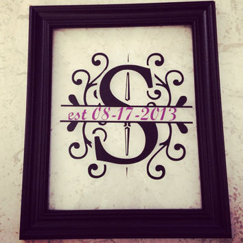 Personalized Framed Vinyl initial wall art