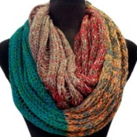 Amazing WINTER SALE: Colorful 4-Toned Block Soft Knit Infinity Scarf