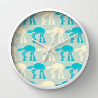 Star wars Wall clock - blue and white wall clock - Designer gift - ATAT -Nursery decor - Contemporary decor - Wall Decor - Wall art