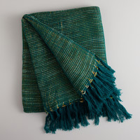 Teal Textured Stripe Throw - World Market