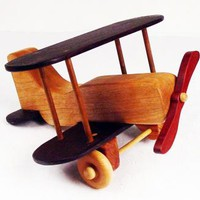 Handcrafted Wooden Heirloom Toy Bi-Plane