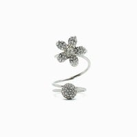 Ball Pave and Daisy Layer Ring
