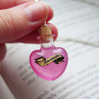 Amortentia or Love Potion Heart shape Glass Bottle Pendant Necklace Harry Potter