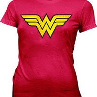 Wonder Woman Distressed Logo Red Juniors/Ladies T-shirt Tee
