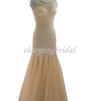 Nude Mermaid Beads Floor-Length Crepes Bridal Dress,Long Formal Dress,Bridesmaid Dress, Bridesmaid Dresses, cheap Prom Dress, prom gown