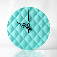 Wall clock made Glossy Turquoise Light , diamond 3d pattern cut, shiny