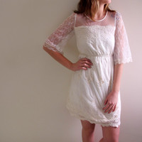 Vintage White Lace Dress Mini Short Classic Bride Bridal Bridesmaid Wedding Knee Length Babydoll