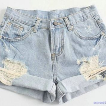 Fashion Women Vintage Denim High Waist Light Blue Jean Shorts HOT Pants S M L XL