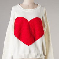 Ivory Love Heart Sweater