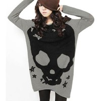Allegra K Woman Long Sleeve Skull Printed Stretch Pullover Shirt