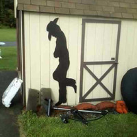 hand made Leaning Cowboy Yard Shadow home and garden